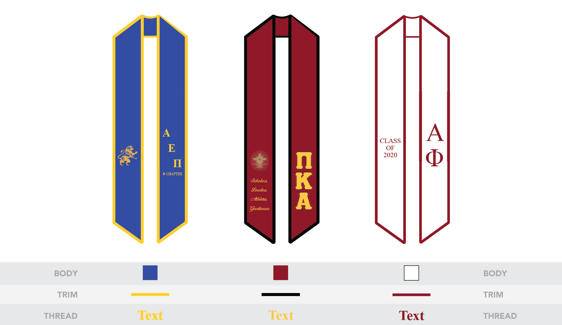 custom fraternity or sorority graduation stole or sash